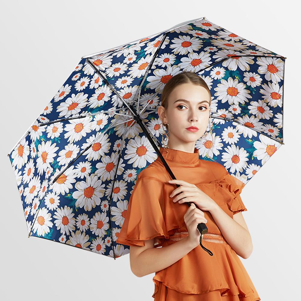 Nielle Sun Umbrella pluie Femme Anti UV Argent Titane pliant parapluie double couche coupe-vent Parasol Flower Girls Parapluies