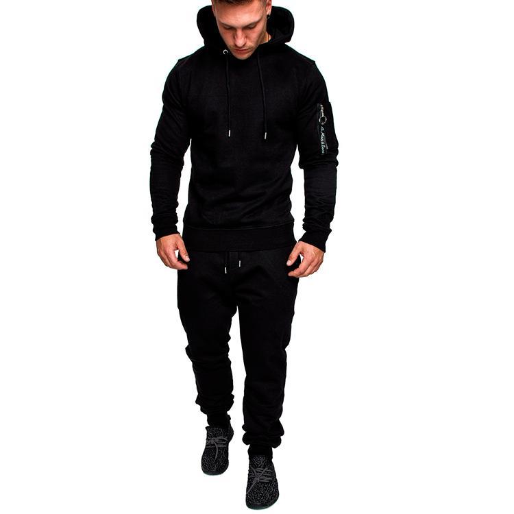 남자 두 조각 세트 패션 두건을 된 스웨터 스포츠웨어 남자 Tracksuit 까마귀 가을 남자 브랜드 의류 후드 + 바지 세트