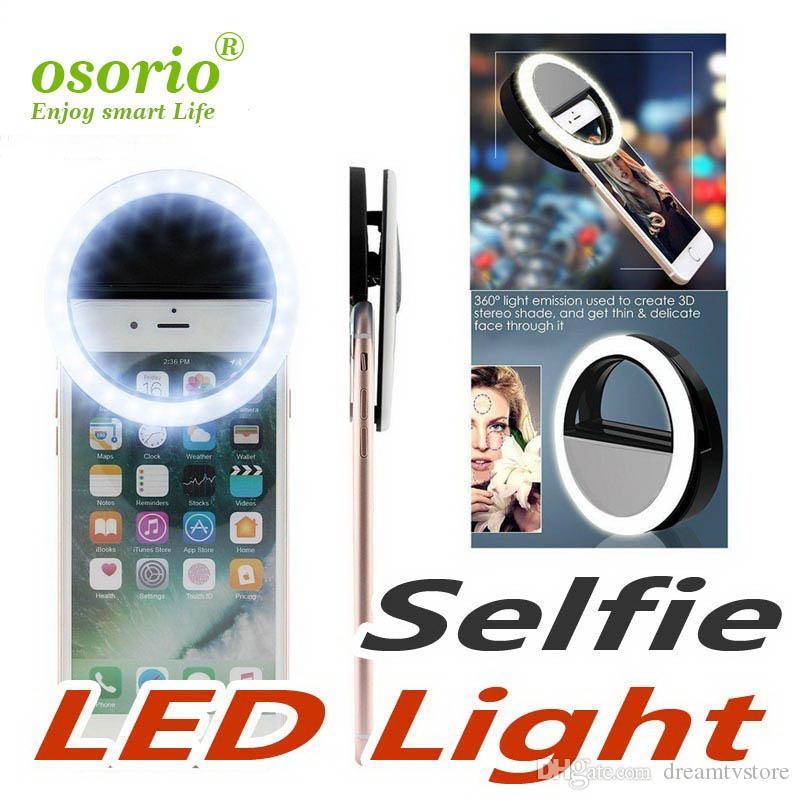 Portable Universal selfie Anneau lampe flash LED téléphone mobile Fill Light selfie Flash annulaire d'éclairage Photographie Caméra Pour Iphone Samsung