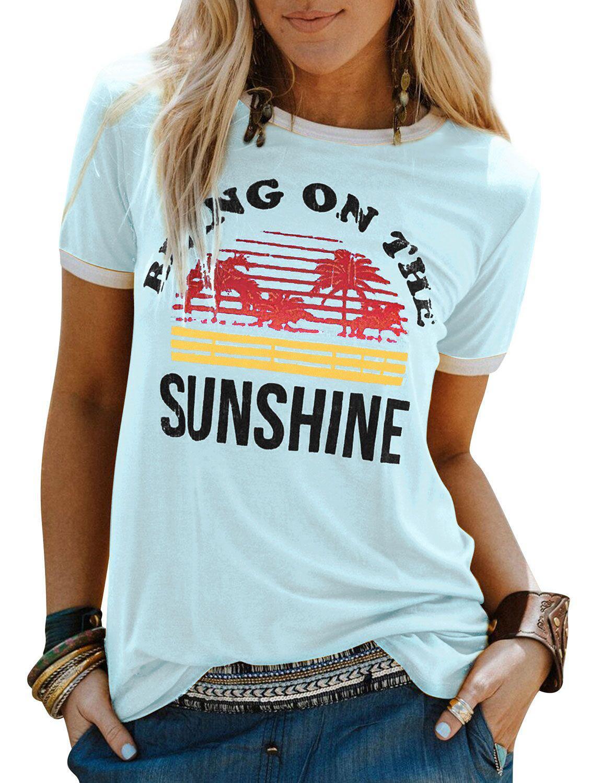 Diseñador para mujer T Shirts Camiseta de las mujeres Carta camiseta blanca brillante hojas de impresión bajo el paño de manga corta de diseño camisetas de marca