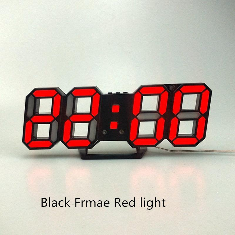 Reloj de pared 3D LED Digital Display Fecha Hora luz nocturna relojes de mesa de escritorio Reloj despertador Home Living Room Decor Diseño Moderno