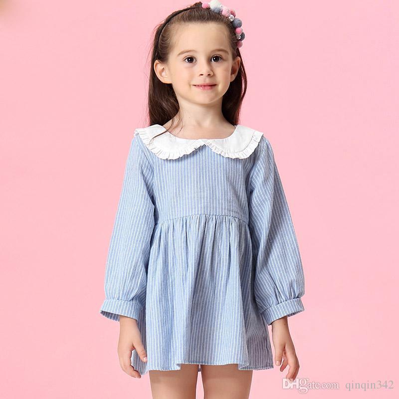 bebê desenhador menina roupas Girls Dress 2020 manga Casual New Outono Ruffles A-Line Listrado completa Crianças Dress For 3T-T7