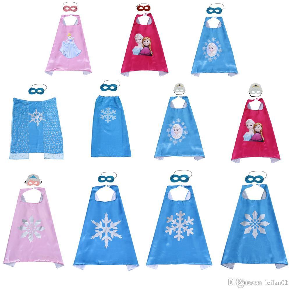 Kızlar maske ile süper kahraman pelerin Külkedisi Mermaid Snowfake pelerin Prenses kostümleri Yüksek dereceli saten çift katmanlı parti iyilik