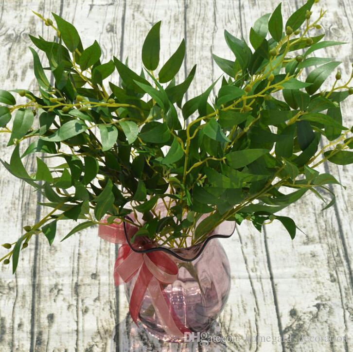 Blätter Weide Hochzeit Blumen-Arrangement Hauptdekoration Gras verlässt neue künstliche Pflanze 5 Gabel Weidenblättern