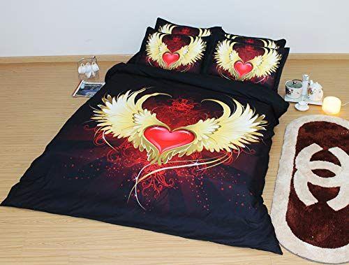 Angel Wings Duvet Cover Set Love Heart Quilt Comforter Cover 3PCS Bedding 2 Pillow Shams Girl Bedspread Bed Set Red Gold Black Gold