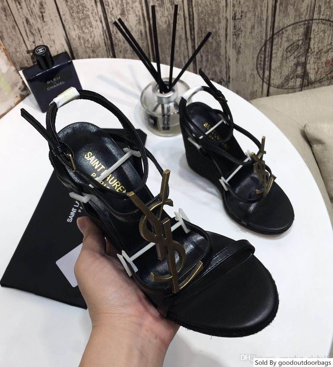 Женщины с сандалии клинья CASSANDRA КЛИН эспадрильи замшей дизайнерские туфли черные кожаные сандалии с коробкой