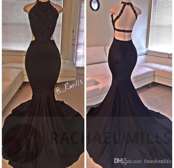 Sexy Halter Negro Sirena Vestidos de baile Largo Lentejuelas de encaje con cuentas Backless Side Slit Vestido de noche Vestidos de fiesta formales