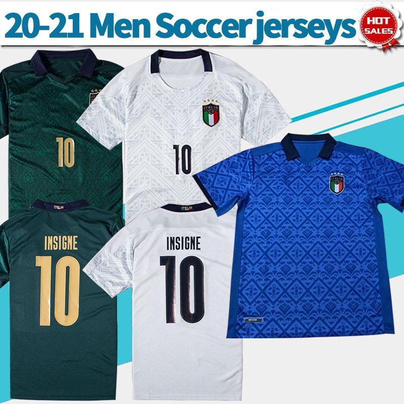 Italie du football du football Chandails maison bleu 20/21 équipe nationale loin blanche # 10 INSIGNE # 19 BONUCCI troisième Football Shirts 2020 Uniformes de football
