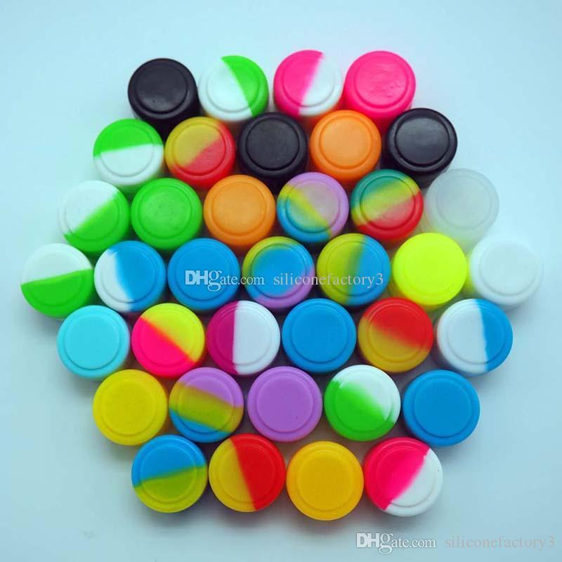 50 teile / los 2 ml mini sortierte farbe silikonbehälter für dabs runde form silikonbehälter wachs silikon gläser