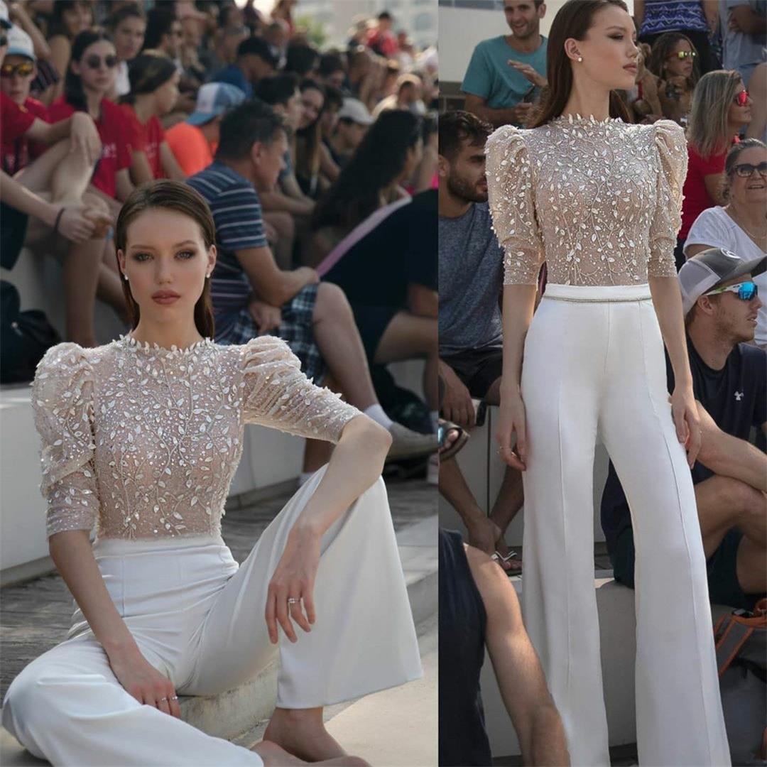 2020 Modern Illusion Üst Gelinlik Modelleri Dantel Aplike Mücevher Boyun Kadınlar Pant Suit Abiye Giyim Pist Moda