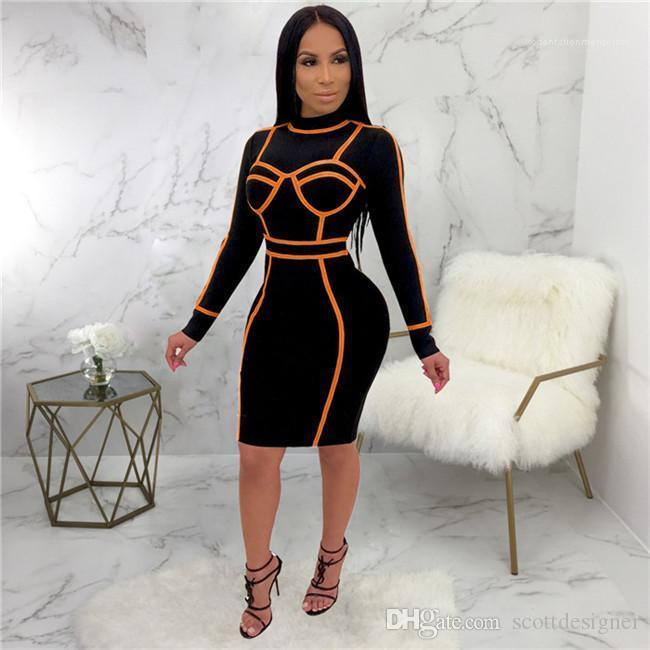 BODYCON Elbiseler Bikini Uzun Kollu Mürettebat Boyun Moda Stil Bayan Gece Kulübü Gündelik Giyim Kadın Seksi Designer yazdır