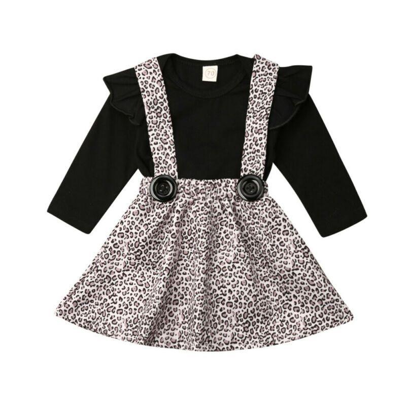 Boutique vestiti della ragazza infantile del bambino vestiti della ragazza a maniche lunghe Body + Leopard Dress Bib Warm Outfit Set