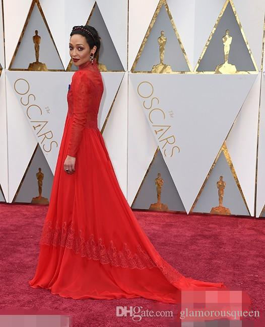 New Ruth Negga Red Lace Celebrity Dress 89ª Annual Academy Awards alta Long Neck Vestido Chiffon Lace mangas Prom Party Gown