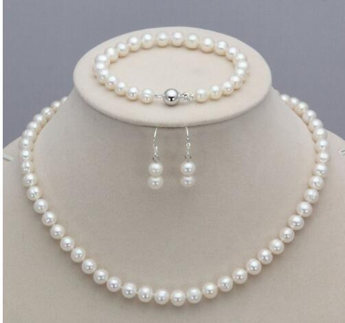 Real 7-8mm Natural White Akoya Cultured Pearl Necklace Bracelet Earring Set