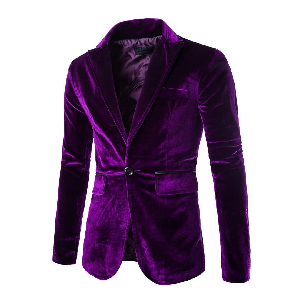 Vente Automne chaud Hommes Corduroy Costume Big Purple Taille Blazer Homme manches longues garçons Slim Fit Blazer Costumes chauds décontractés pour hommes 2XL 3XL