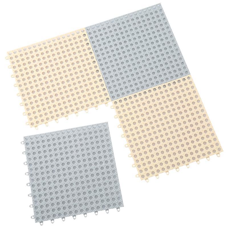 Plastic Drain Holes Non-Slip Bathroom Toilet Kitchen Shower Mat Square Floor Pad White 30cm by 30cm Stylish and Popular