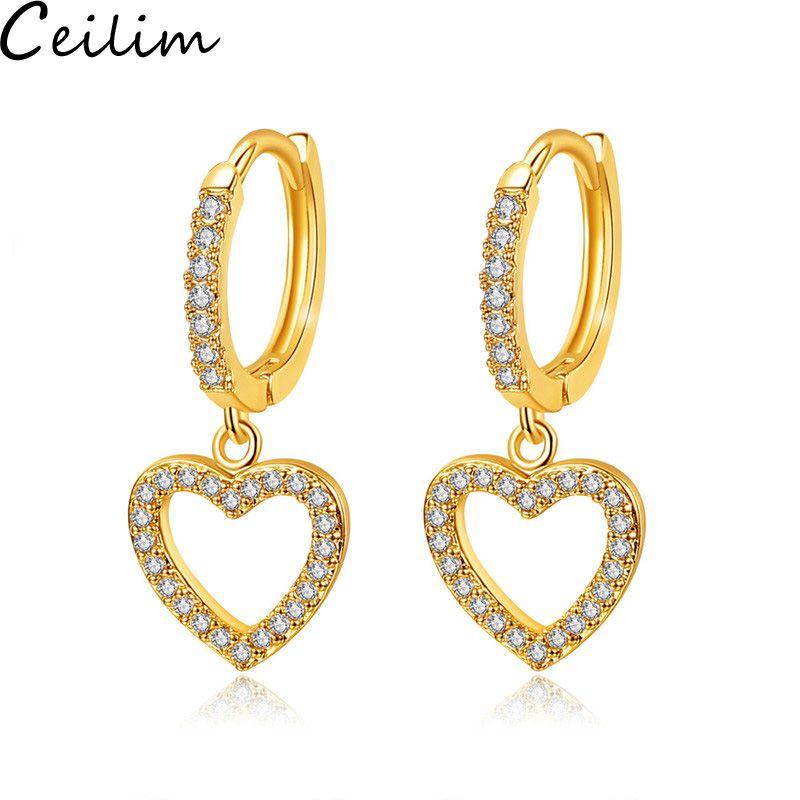 Boucles d'oreilles coeur creux douces pour femmes pavée complète argentée zircon cz doré dangle boucle d'oreille pour femme cadeau de filles