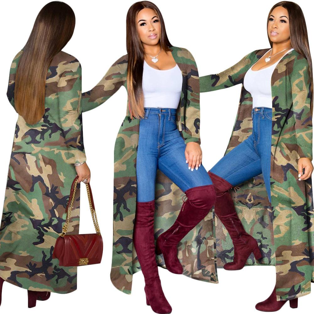 2019 Winter Women Fashion Long Trench Coats Camouflage Print Cape Cardigan Long Sleeve Duster Casual Street Outdoor Coat Camo Open Front Top