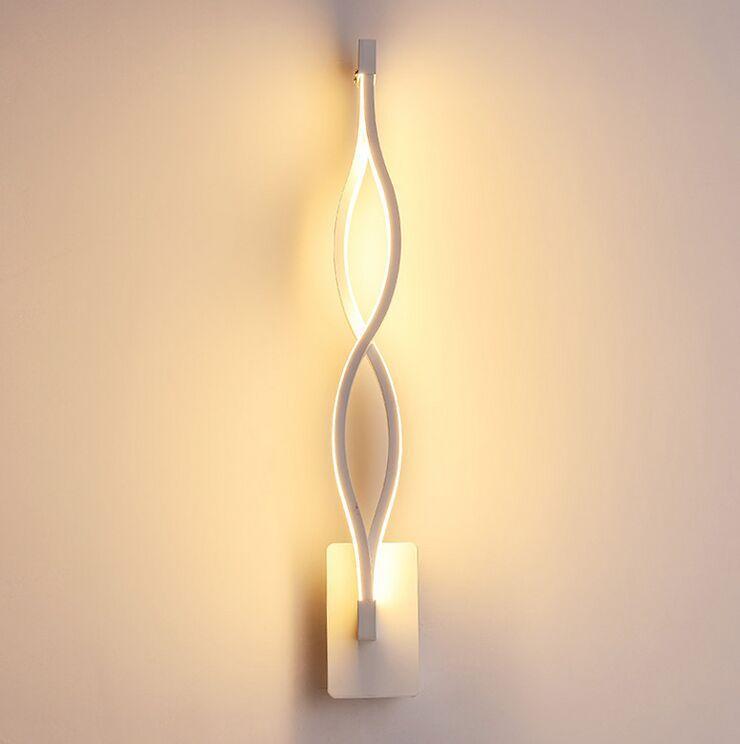 Applique moderne Noir / Blanc onduleux Applique de Fixture AC220v acrylique mural salle de bains d'éclairage Lampe de chevet Myy