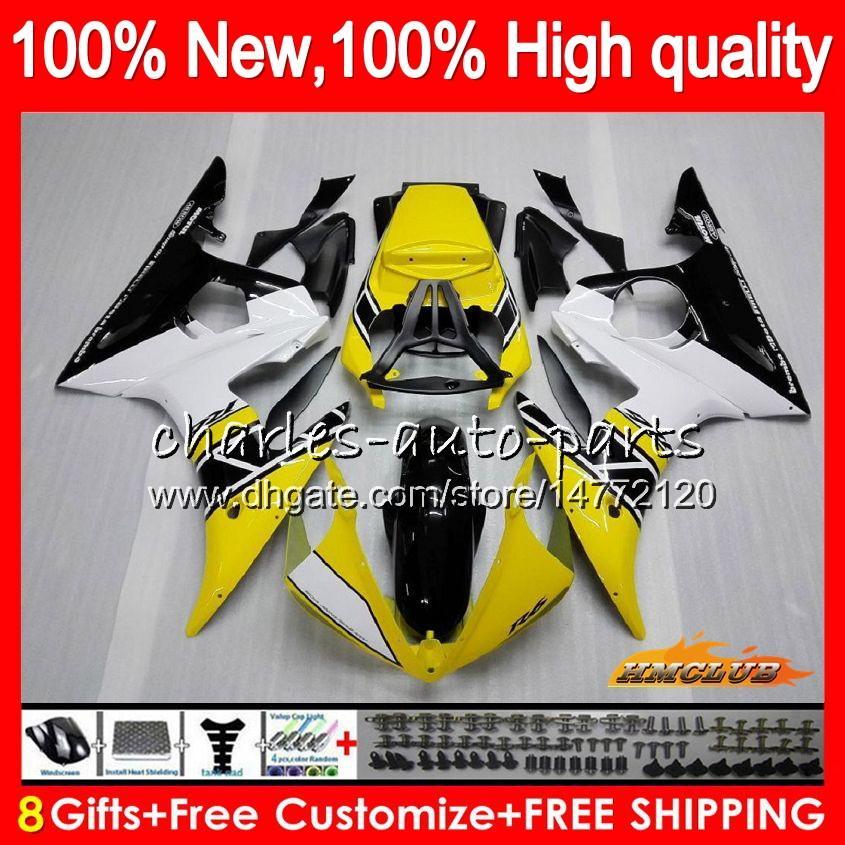 Body Kit voor YAMAHA YZF600 YZF 600 R 6 600CC YZF R6 03-05 Geel Zwart 59HC.17 YZF-R6 YZF-600 YZFR6 03 04 05 2003 2004 2005 Kuip + 8Gifts