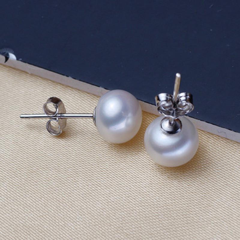 ASHIQI Real Natural Freshwater Pearl Stud earrings 925 Sterling silver small earrings fashion jewelry for women gifts