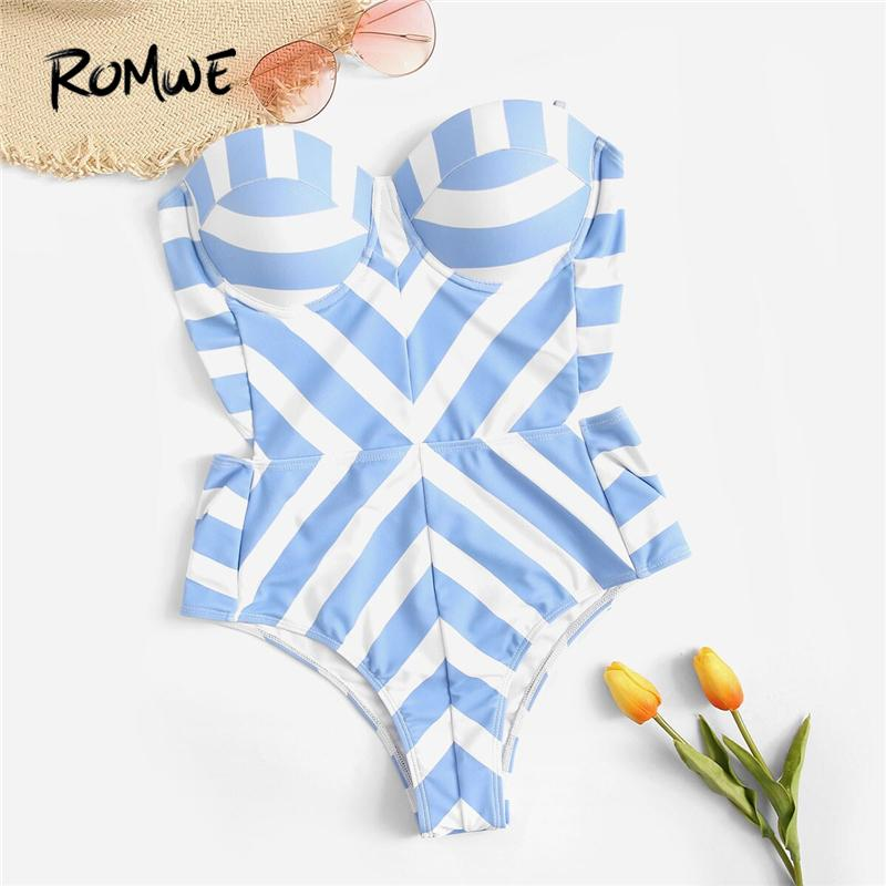Romwe Sport One piece Bikinis Set Striped Bustier Underwire Bandeau Bikini Monokini Summer Push Up Bathing Suit Women One Piece