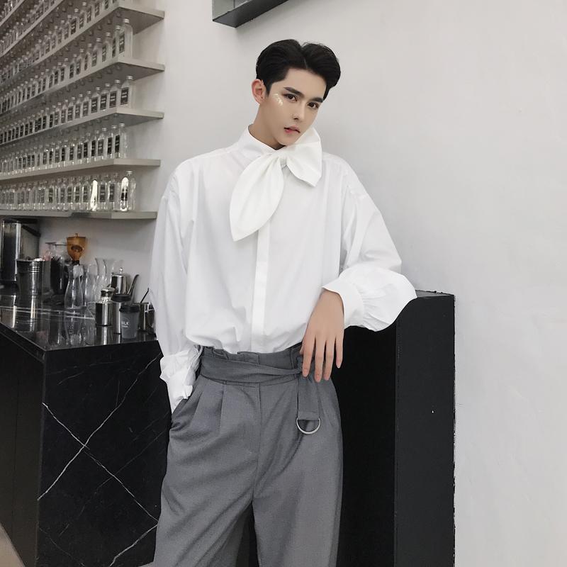 خريف 2019 بأكمام طويلة جديد الكورية القميص أزياء حزب رجال الابيض اسود واحدة اعتلى الأعمال عارضة 2 الألوان