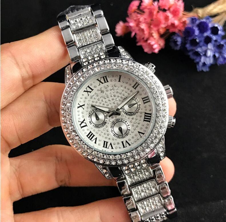 Freie VersandDropship 2020 Diamant-Uhr Frauen Luxus heiße Dame Uhren Damen kleiden weibliche Faltschliesse Roségold Armbanduhr Uhr Geschenk