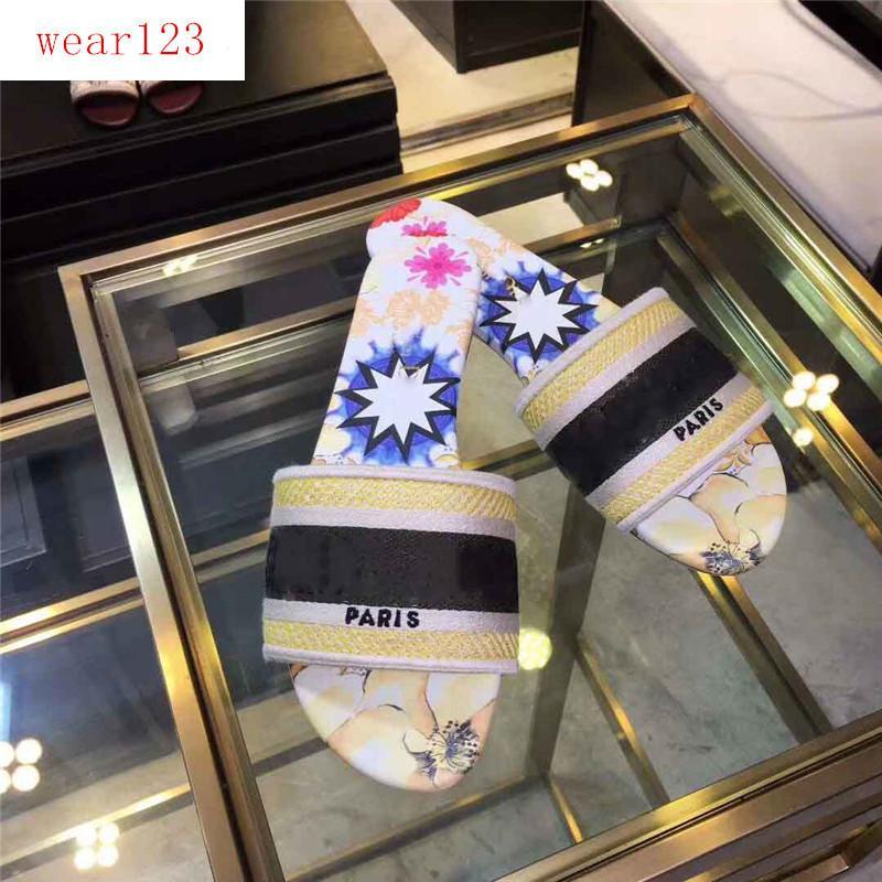 caixa original Dazzle Flores Mulheres Designer Chinelos parte inferior lisa do bordado Sandália Floral Brocade Slipper
