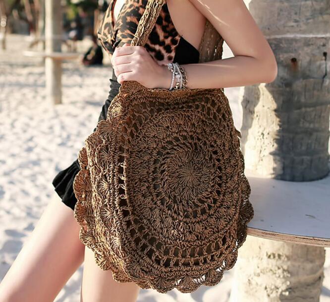 Designer Borse Bohemian paglia per le donne Borse grande cerchio borse della spiaggia di estate Vintage Rattan Bag Handmade Kintted di viaggio