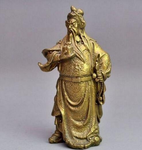 Rare Chinese bronze brass Dragon Warrior Guan Gong guan yu statue