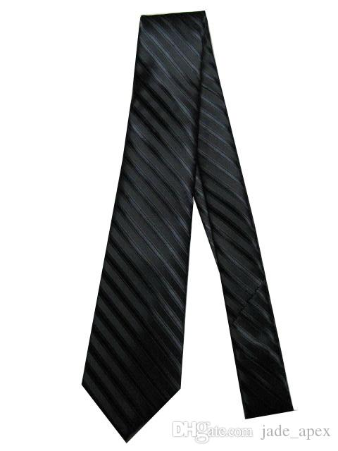 Sıcak satış M14 JAKAR LOGOLU EL YAPIMI Classice Çizgili Siyah Renk MEN BAĞ Kravat