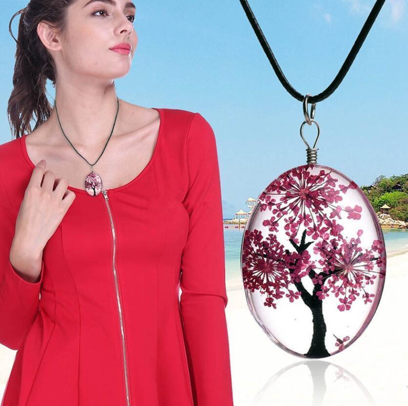 Temps Gemmes Séché Fleur Pendentif Collier Mignon Toujours Fleur Pendentif Vie arbre Collier Corde Chian Charme Femmes Bijoux 10 Couleurs EEA204