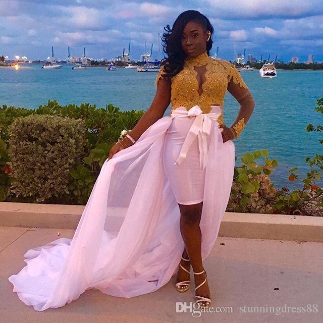 Atemberaubende goldene spitze lange ärmel Prom Kleider Abendkleider Asymmetrische Rosa Organza HI LO Pailletten 2021 Afrikanisches langes Party Pageant Kleid