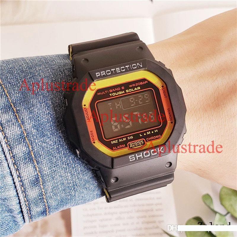 G6500 LED Relógios Moda Digital 6500 Alarm Proof Relógios Rosto Praça Water Watch Sports com Tin Box