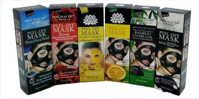 6 Styles Peel Off Gold Collagen Bamboo Charcol Facial Mask Face Mask Crystal Gold Powder Deep Sea Mud Facial Mask Skin Care 50pcs