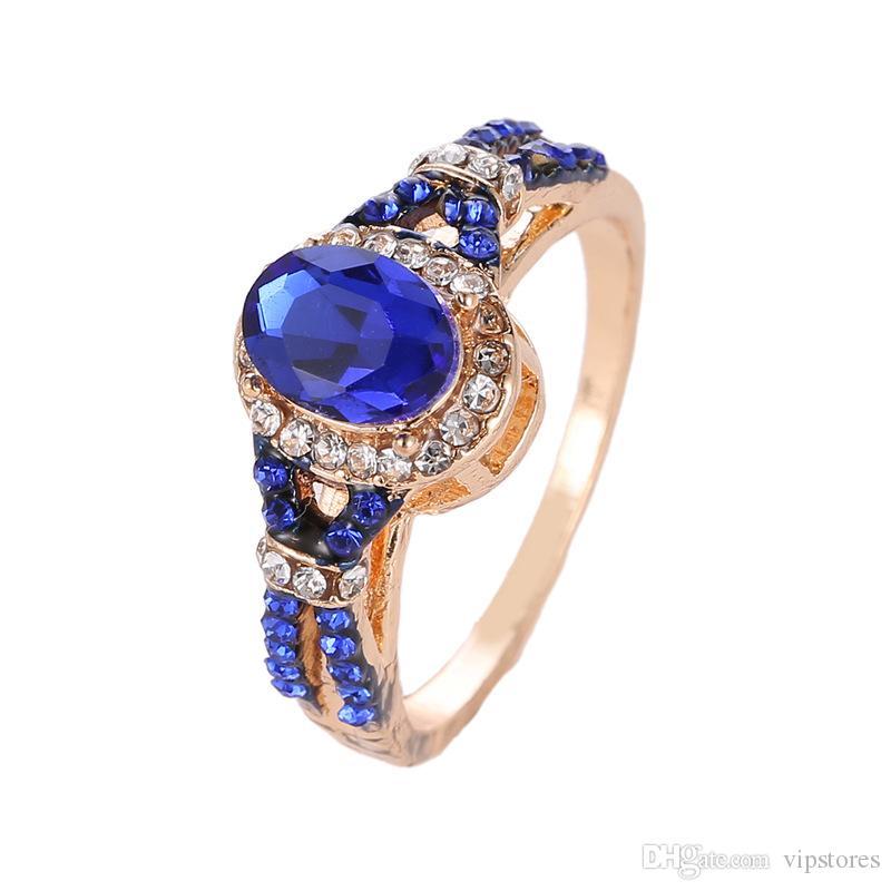 Уникальный подарок бриллиантовые кольца обручальные кольца драгоценный камень сапфир кольца для женщин ювелирные изделия синий Циркон кольцо с бриллиантом