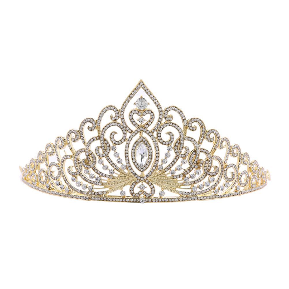 Luxury Gold Color Wedding Crown Queen Bridal Tiaras Bride Crystal Princess Crown Headband Wedding Hair Accessories Hair Jewelry