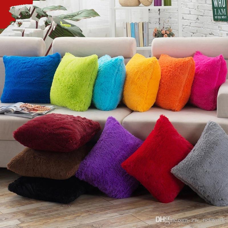 Macio plush throw pillow fronha capa de almofada para o sofá do carro caso capa de almofada para o quarto sala de estar fronha 15 cores 43 * 43 cm