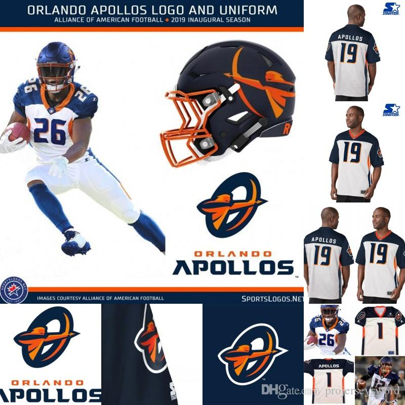 Mens Orlando Apollos Jersey 3 Garrett Gilbert 12 Charles Johnson ...