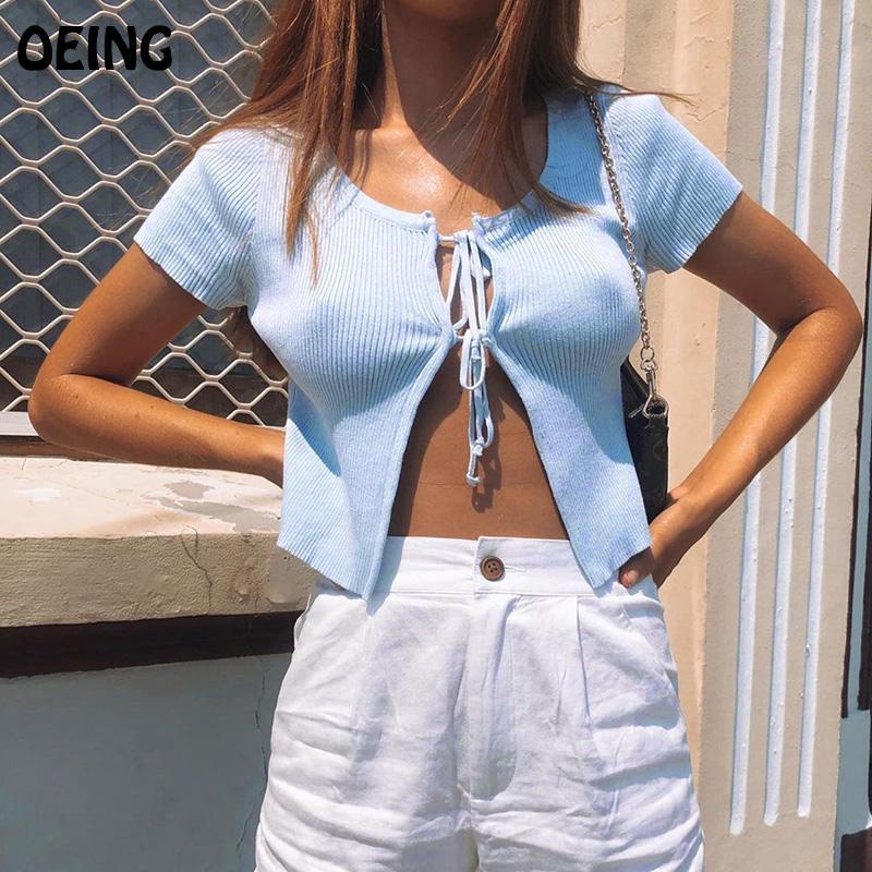 Oeing femmes sexy Camisole doux tricot Débardeurs à manches courtes T-shirt sexy Cardigan bleu Tops Porter Femme Crop Beach Club