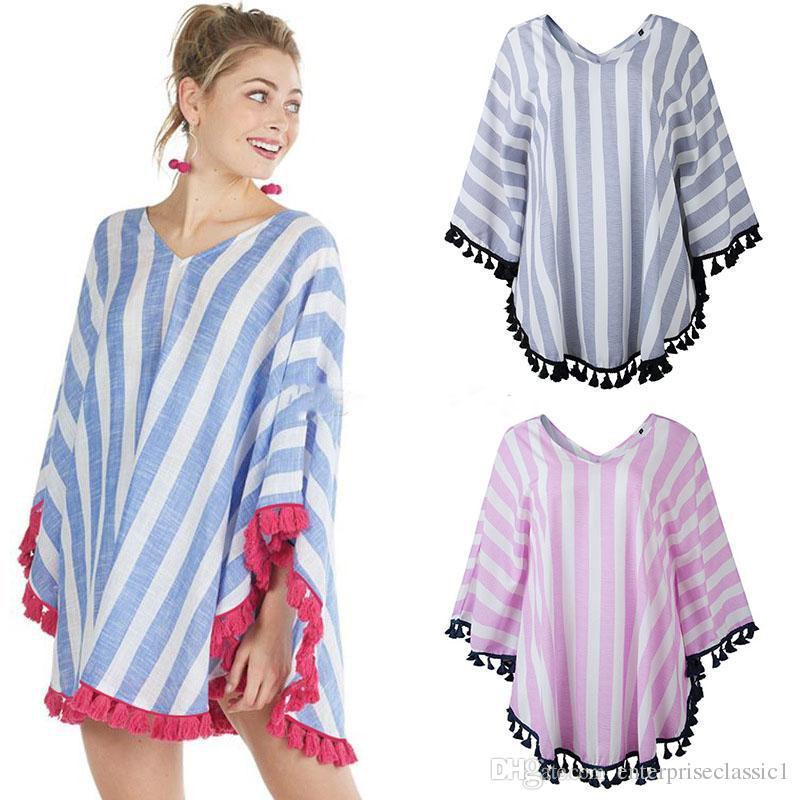 2019 Лето Женщины V-образным вырезом плащ Топы мода Полосатый кисточкой шаль Повседневная Тис Одежда для беременных 3 цвета футболки