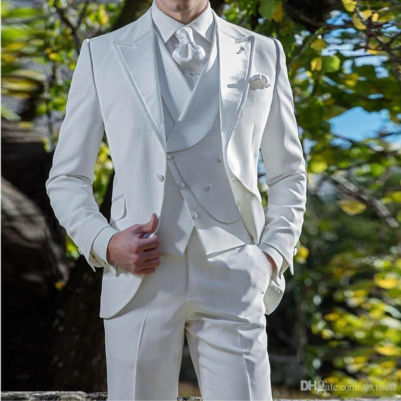 Ivory Men Suits for Wedding Vintage Groom Tuxedos Custom Made Groomsmen Blazers 3 Pieces Peaked Lapel Double Breasted Vest Retro Suits Pants