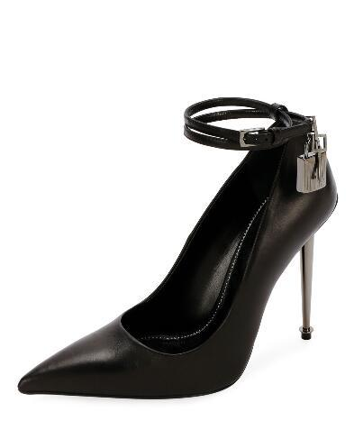 Hot Sale-Women high heel pointed toe dress shoes Genuine leather Buckle feminine Shoes party shoes