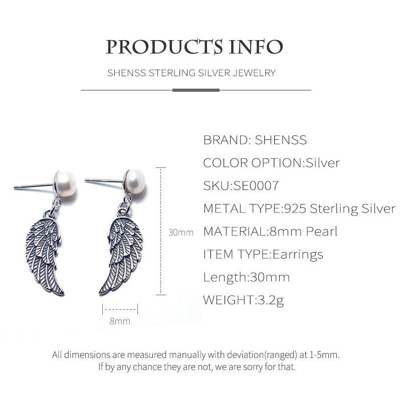 S925 sterling silver pearl earrings for women original angel wings earrings US style long earring female