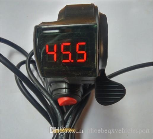 pouce doigt shifter avec indicateur de tension de la batterie 3gears interrupteur marche / arrêt interrupteur de croisière pour vélo électrique tricycle de scooter