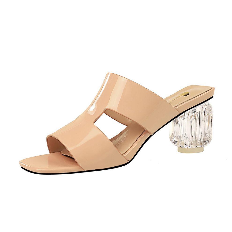 تصميم جديد صنادل عالية الكعب النعال المرأة الصيف الانزلاق على عارضة أحذية البغال الشرائح الراحة للسيدات
