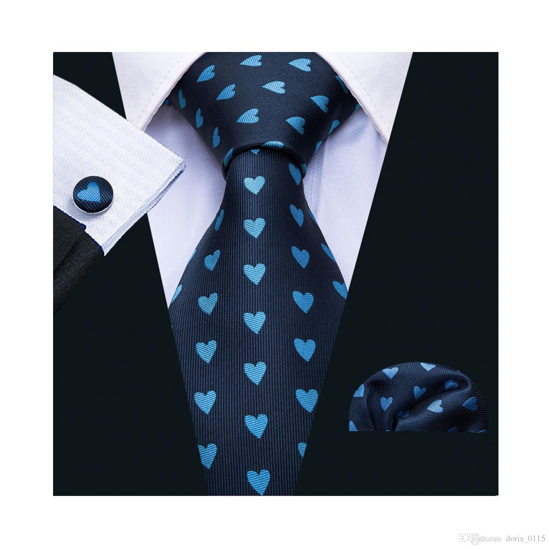 Silk Mens Ties Black Polka Dot Necktie Pocket Square Cufflinks Set Party Tie