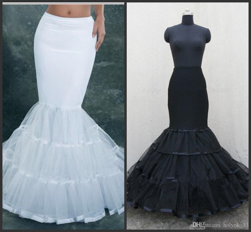 2019 White Fishtail Mermaid Bridal Accessories Petticoats Wedding Dress White Black Bridal Petticoat Slips Accessories Underskirt