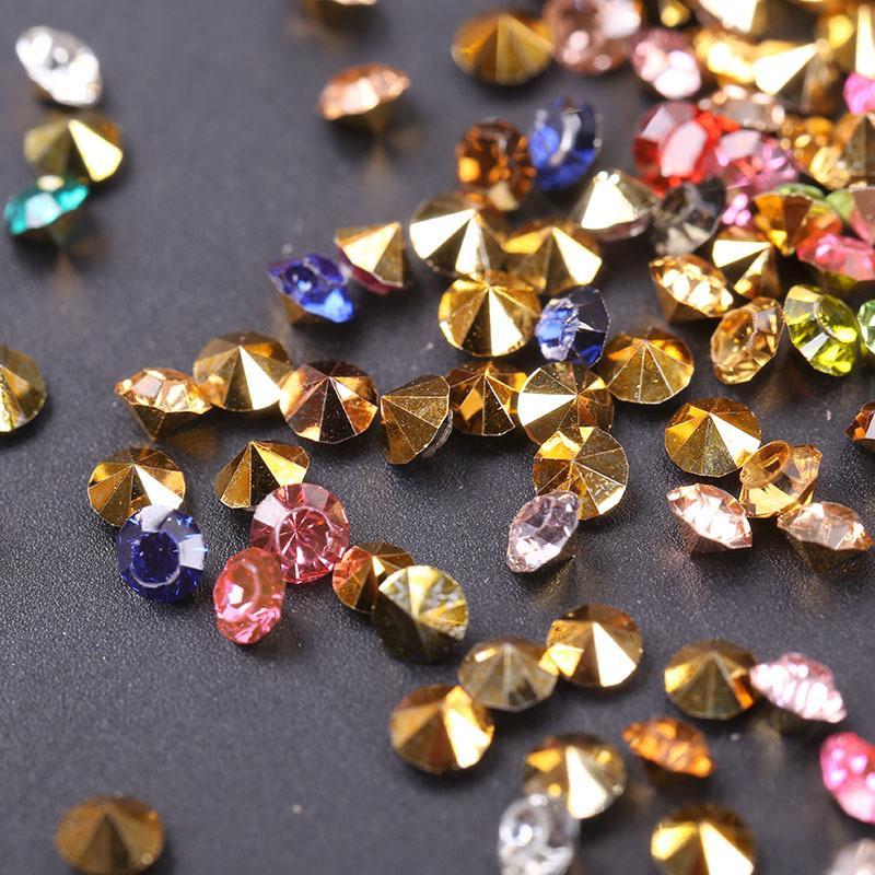 10g/pack 3mm Glitter Rhinestones Nails Art Decorations Gold Sharp Bottom Resin 3d Nail Crystal Studs Manicure Diamond